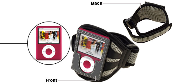 Washable Sports Black & Grey Armband Case for iPod Nano 3rd