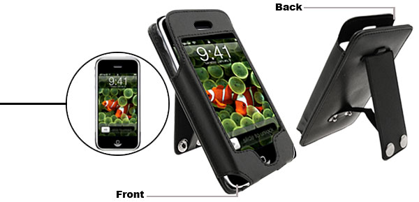 Vertical Stand Black Leather Protector Case for Apple iPhone 1st Generation