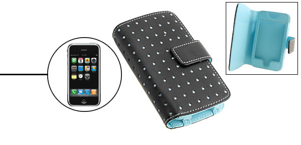 Blue Punched Leather Case Pouch Wallet Business Card Holder for Apple iPhone 1st Generation