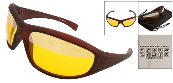 Night Vision Polycarbonate Driving Glasses  Sunglasses (Black Frame Yellow Lens)