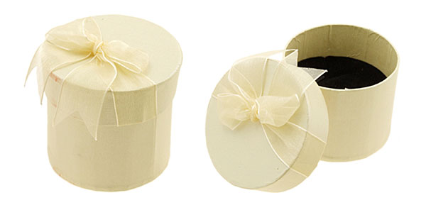 Beige Mini Jewelry Earrings Ring Present Gift Box Case