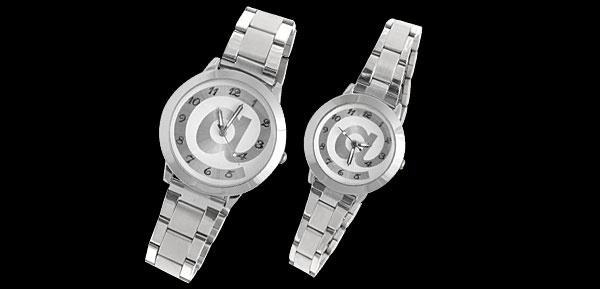 Silver and White Stainless Steel Water Resistant Couple Watch