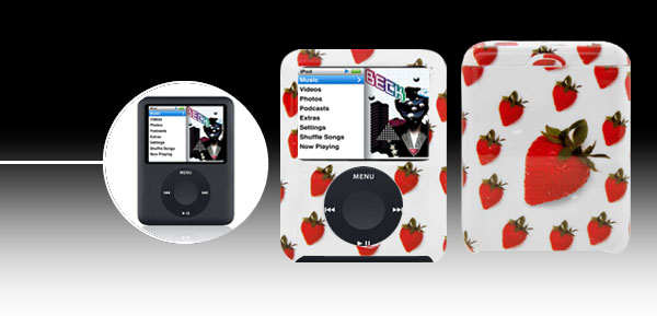 Stylish Strawberry Plastic Case for iPod Nano 3G