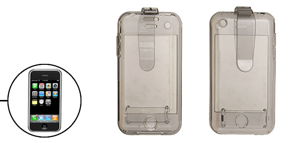 Crystal Plastic Hard Case with Clip for Apple iPhone 1st Generation - Gray