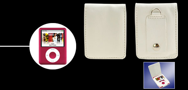 White Flip Leather Skin Case for iPod Nano 3G