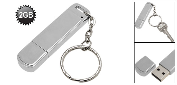 2GB USB Stainless Steel 2.0 Flash Memory Stick Drive w/Key Ring