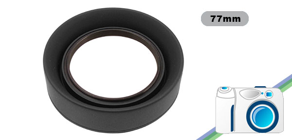 Collapsible 3 Stages 77mm Rubber Lens Soft Hood Shade Black