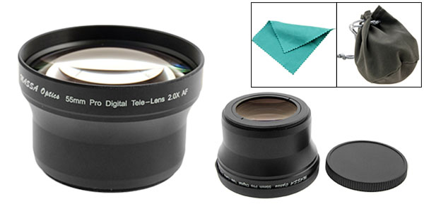 55mm Pro Digital Camera Telephoto Video Lens for Canon Nikon