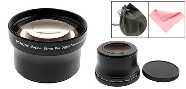 58mm Pro Digital Camera Telephoto Video Lens for Canon Nikon