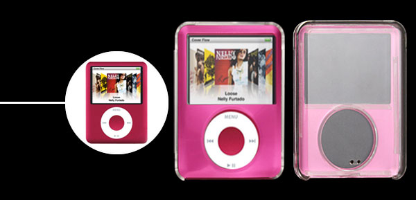 Plastic Crystal Rosered Hard Case for iPod Nano 3G