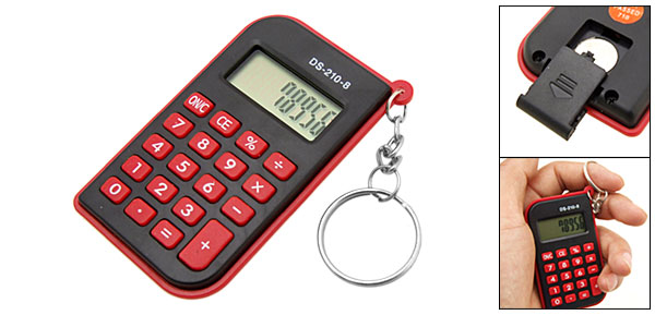Mini Pocket 8 Digit Key Chain Red Calculator