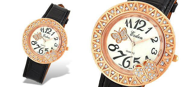 Jewelry Rhinestone Leather Band Lady's Quartz Wrist Watch