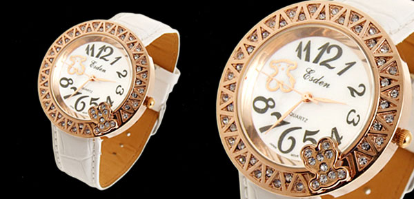 Jewelry White Leather Golden Bear Dial Lady Watches