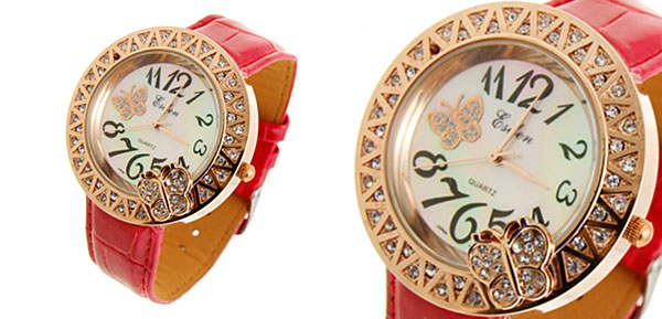 Fashion Jewelry Lady Red Leather Golden Butterfly Dial Watches
