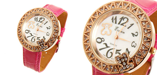 Lady Peachblow Leather Golden Bear Dial Watch