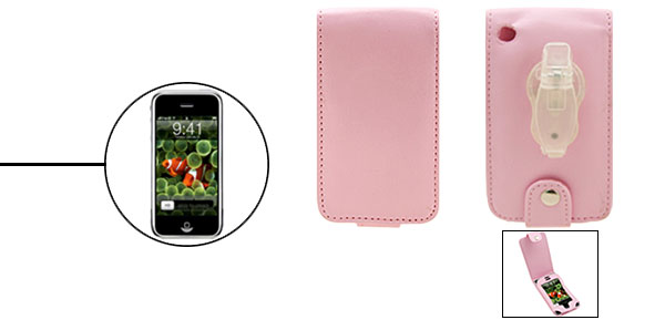 Pink Luxury Leather Case for Apple iPhone 1st Generation with Clip