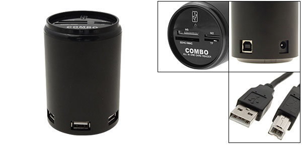 Soda Can Combo All in One Card Reader Writer + 3 Ports USB Hubs