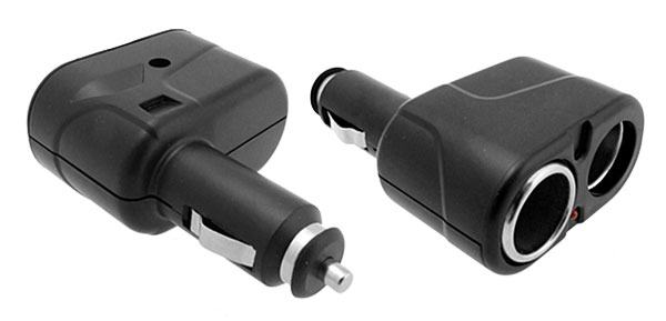 Black Car 1-To-2 Cigarette Lighter Socket Splitter