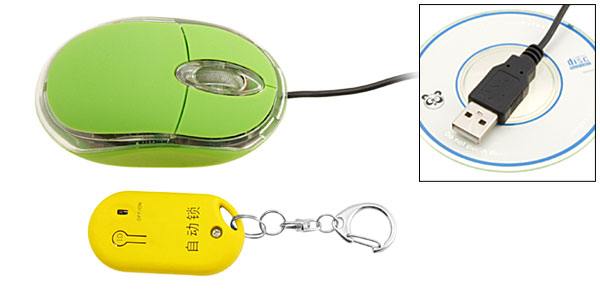 Crystal Green USB Computer Auto Lock / Unlock Optical Mouse With Wireless Key