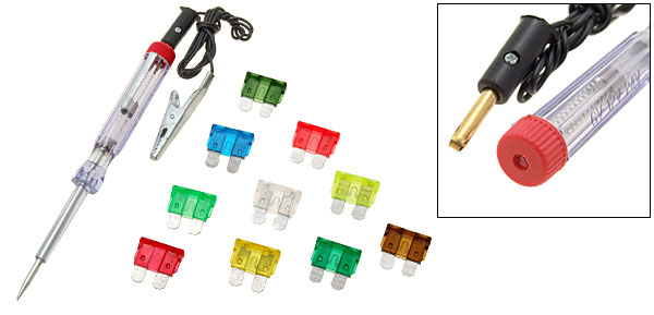 6-24V Auto Car Circuit Voltage Tester Tool with 10 Pieces Blade Fuse