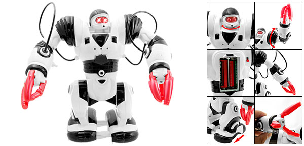 White and Black Battery Operated Warrior Robot Toy