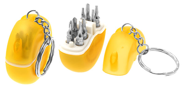 Portable Mini 8 in 1 Screwdriver Bits Set in Yellow Key Ring Box