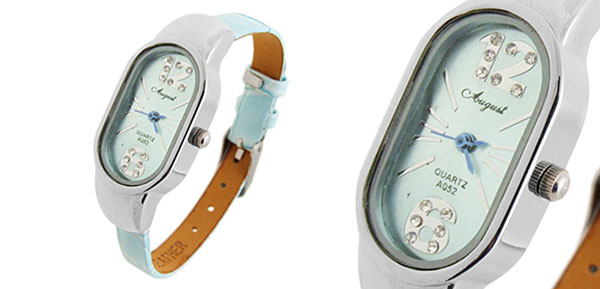 Fashion Stylish Leather Slim Lady Wrist Baby Blue Watches