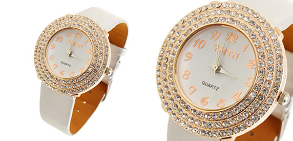 Silvery Man-made Leather Diamond Golden Ladies Watch