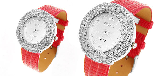 Ladies Red Man-made Leather Diamond Golden Watch