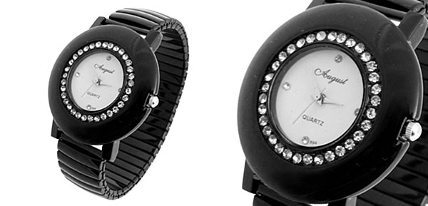 Man-made Diamond Black Adjustable Chain Band Watch