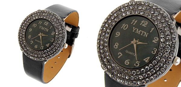 Fashion Jewelry Man-made Diamond Ladies Black Band Watch