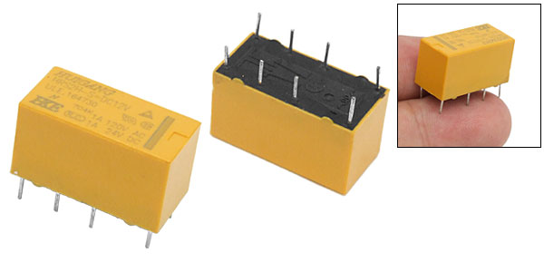 Yellow Miniature PCB Type Electronic Component Power Relay with 8 Prongs HRS2H-S-DC12V