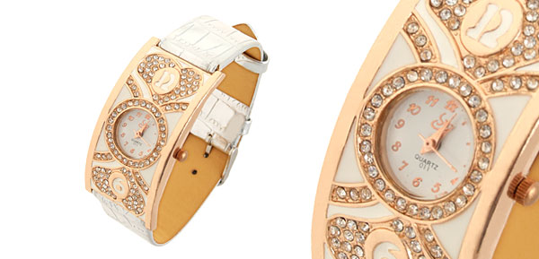 Fashion Jewelry White Leather Ladies Heart Rhinestone Quartz Watch