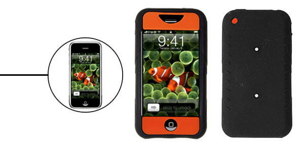 Skid Resistant Silicone Skin Case for Apple iPhone 1st Generation Orange & Black