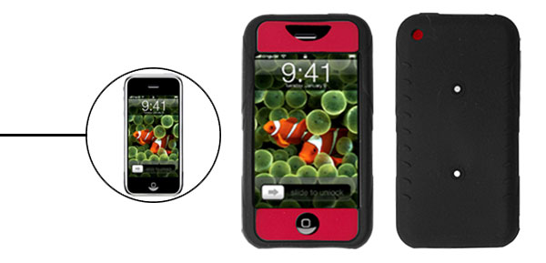 Skid Resistant Silicone Skin Case for Apple iPhone 1st Generation Red & Black