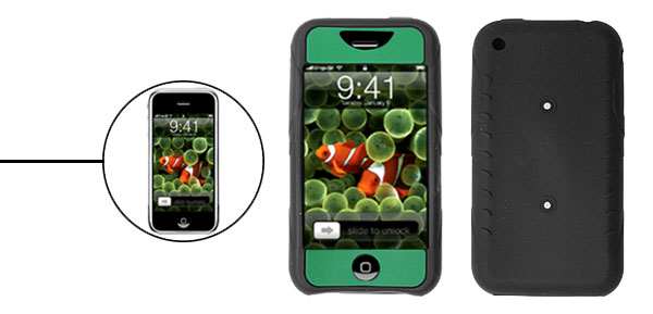 Skid Resistant Silicone Skin Case for Apple iPhone 1st Generation Green & Black