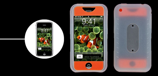 Orange & Crystal White Skid Resistant Silicone Skin Case for Apple iPhone 1st Generation
