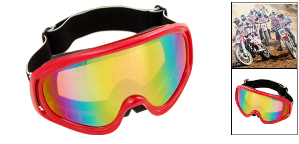 Ski Snowboard Sports Glasses Goggles Color Coated Lens Red Frame