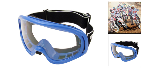 Ski Snowboard Skate Sports Glasses Goggles Transparent Lens and Blue Frame