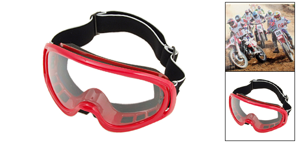 Ski Snowboard Skate Sports Glasses Goggles Transparent Lens and Red Frame