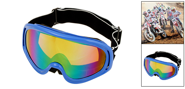 Ski Snowboard Sports Glasses Goggles Color Coated Lens Blue Frame