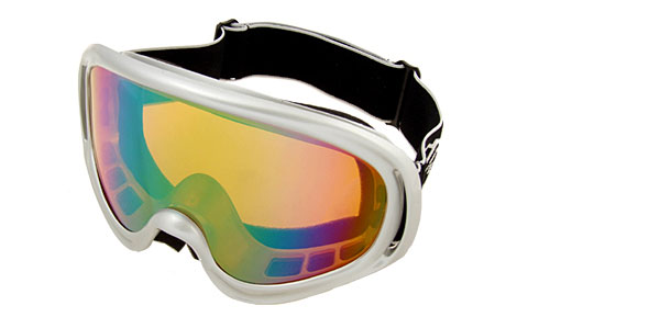 Ski Snowboard Sports Glasses Goggles Color Coated Lens Silver Frame