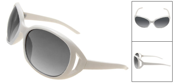 Super Cool Gray Lens White Frame Fashion Ladies Sunglasses