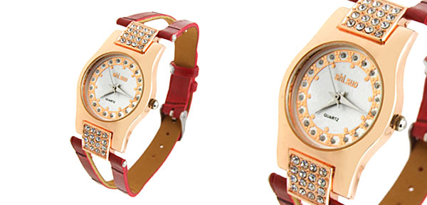 Fashion Jewelry Slim Crystal Ladies Wrist Quartz Watches Red