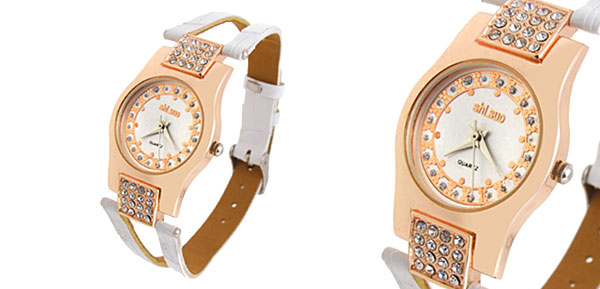 Fashion Jewelry Slim Crystal Ladies Wrist Quartz Watches White