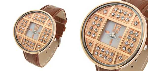Fashion Jewelry Golden Copper Cash Ladies Wrist Watches Brown