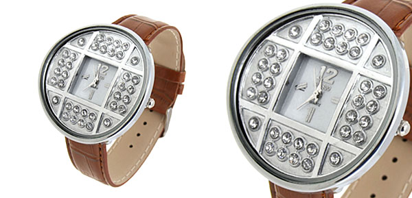 Fashion Jewelry Silver Copper Cash Ladies Wrist Watches Brown
