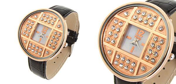 Fashion Jewelry Golden Copper Cash Ladies Wrist Watches Black