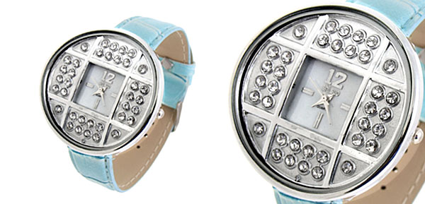 Fashion Jewelry Silver Copper Cash Ladies Wrist Watches Blue