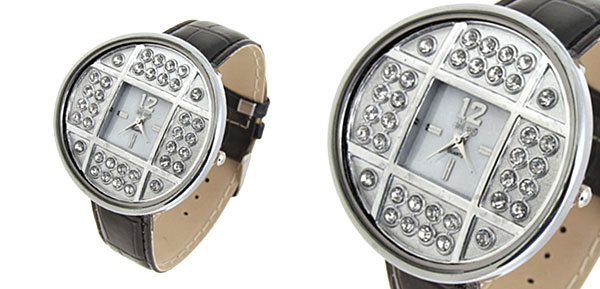 Fashion Jewelry Silver Copper Cash Ladies Wrist Watches Black